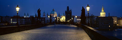 Prague Photograph - Street Light On A Bridge, Charles by Panoramic Images