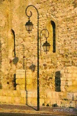 Painting - Painting Of Street Light by George Atsametakis