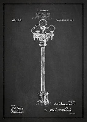 Street Light Post Patent Drawing From 1904 Art Print