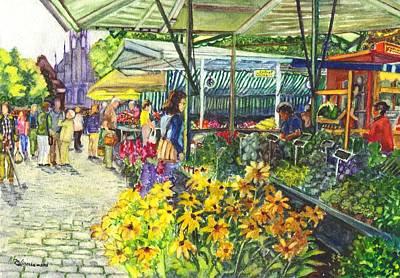 Watercolor Munster Germany Street Market  Art Print by Carol Wisniewski