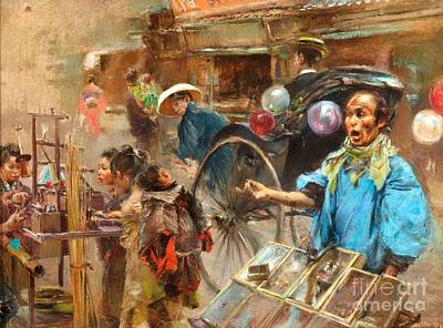 Painting - Street Market by Pg Reproductions