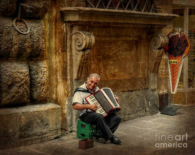 Street  Music Art Print by Valerie Reeves