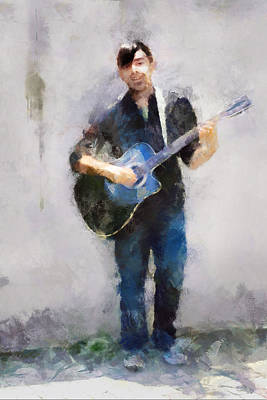 Thomas Kinkade Rights Managed Images - Street Musician Royalty-Free Image by Francesa Miller