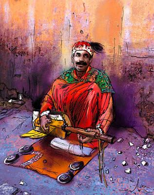 Painting - Street Musician In Marrakesh 01 by Miki De Goodaboom