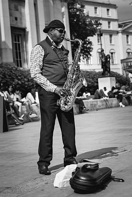 Saxophone Photograph - Street Musician by Jimmy Karlsson