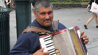 Photograph - Street Musician - The Gypsy Accordion Player 1 by Teo SITCHET-KANDA