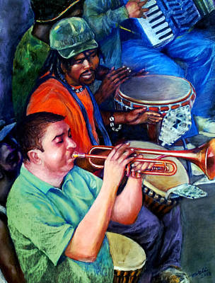 Trumpet Painting - Street Musicians  by Arti Chauhan