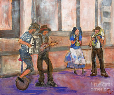 Accordian Painting - Street Musicians I by Indra Dosanjh