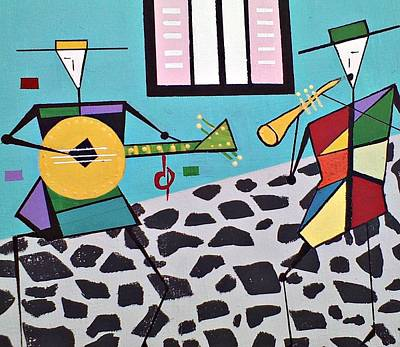 Street Musicians Art Print by Lew Griffin