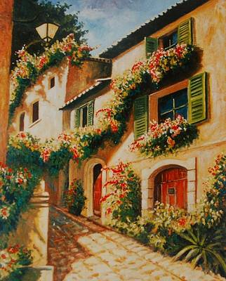 South Of France Painting - street of Provence by Santo De Vita
