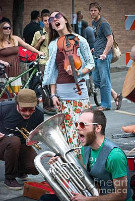 Street Performers In Austin Texas Print by Sonja Quintero