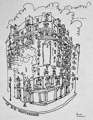 Storefront Photograph - Street Scene At Montparnasse Boulevard by Richard Lawrence