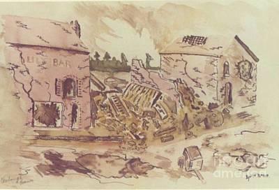 Ww Ii Drawing - Street Scene Cherbourg France by David Neace