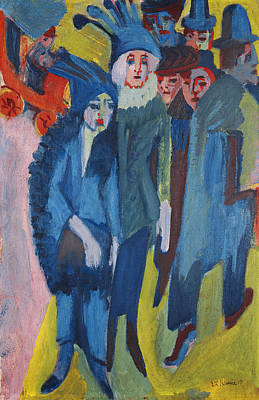 Driving Out Painting - Street Scene by Ernst Ludwig Kirchner