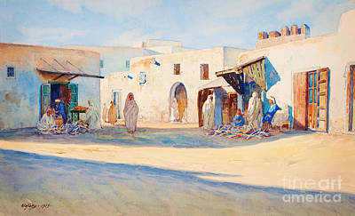 Camels Painting - Street Scene From Tunisia. by Celestial Images