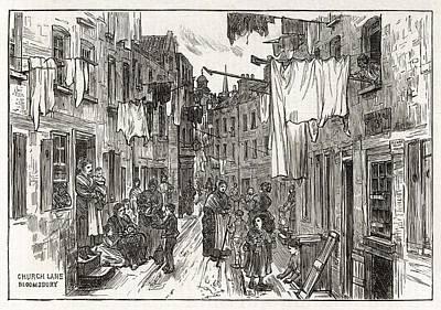 Bloomsbury Drawing - Street Scene In Church Lane by  Illustrated London News Ltd/Mar