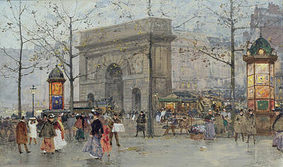 Commuters Painting - Street Scene In Paris by Eugene Galien-Laloue