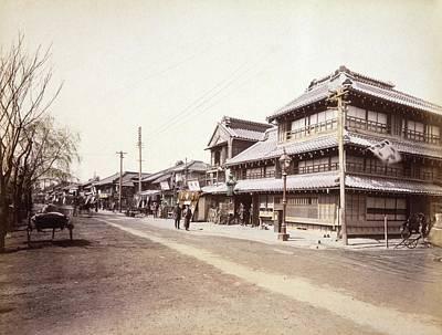 Albumen Photograph - Street Scene In Yokohama by Library Of Congress