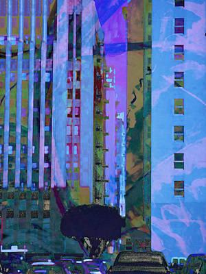 Commerce Mixed Media - Street Scene La Blue by John Fish