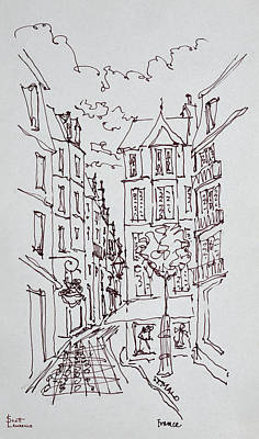 Pen And Ink Drawing Photograph - Street Scene, Saint-malo, Brittany by Richard Lawrence