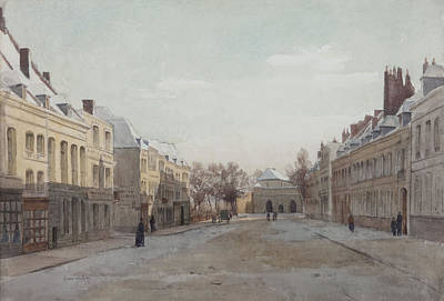 Townscapes Drawing - Street Scene by Henri Duhem