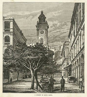 Hong Kong Drawing - Street Scene, With A Church by Mary Evans Picture Library