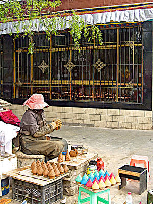 Yak Digital Art - Street Shopkeeper In Lhasa-tibet by Ruth Hager