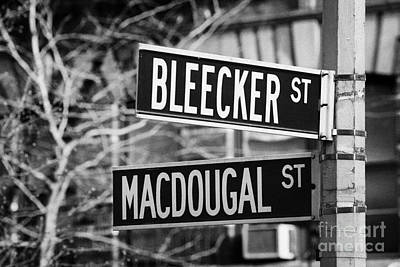 street signs at junction of Bleeker st and Macdougal street greenwich village new york city Print by Joe Fox
