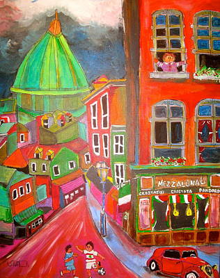 Italian Bakery Painting - Street Soccer by Michael Litvack