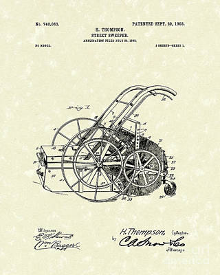 Drawing - Street Sweeper 1903 Patent Art by Prior Art Design