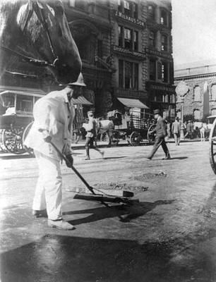 Street Sweeper, C1910 Art Print