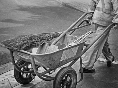 Street Sweeper - Wheelbarrow Art Print