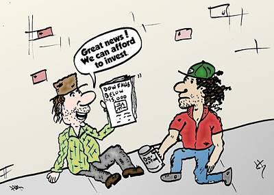 Binary Options News Cartoon Mixed Media - Street Traders Caricature by OptionsClick BlogArt