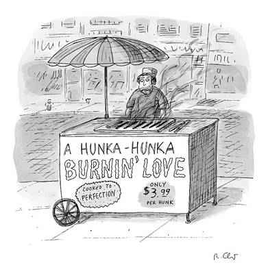 Hot Dogs Drawing - Street Vendor Stands Behind His Cart by Roz Chast