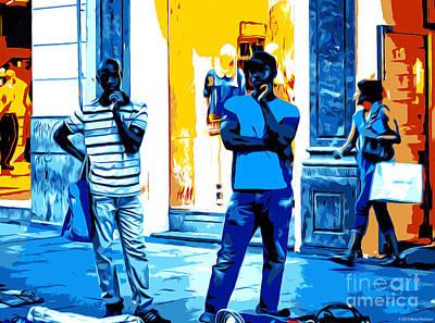 Walkway Digital Art - Street Vendors At Night - Madrid  by Mary Machare