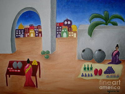 Water Jars Painting - Street Vendors by Victoria Lakes