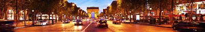 Arc De Triomphe Photograph - Street View At Dusk, Arc De Triomphe by Panoramic Images
