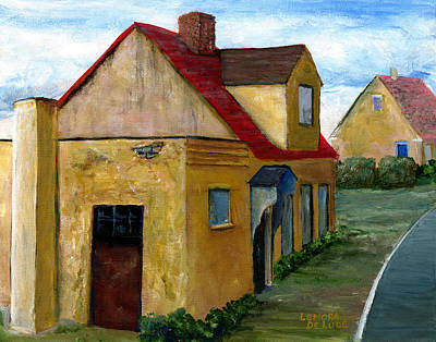 Hand Painted Painting - Street View In Zealand by Lenora  De Lude