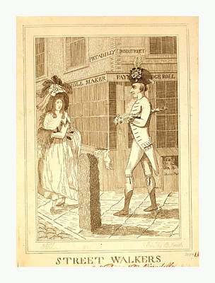Bustle Drawing - Street Walkers, En Sanguine Engraving 1786, A Well Dressed by English School