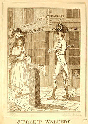 Bustle Drawing - Street Walkers, En Sanguine Engraving 1786, A Well Dressed by Litz Collection