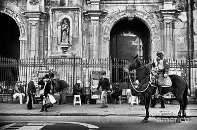 Photograph - Street Watching In Santiago Mono by John Rizzuto