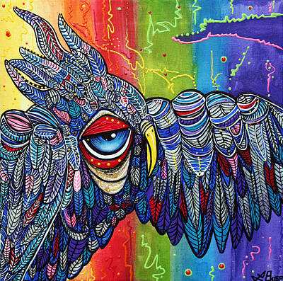 Owl Painting - Street Wise Owl 2 by Laura Barbosa
