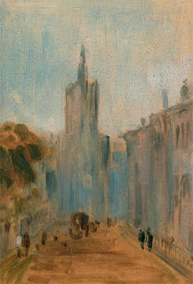 Street With Church And Figures, Unknown Artist Art Print by Litz Collection