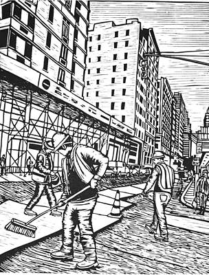 Street Work In New York Art Print