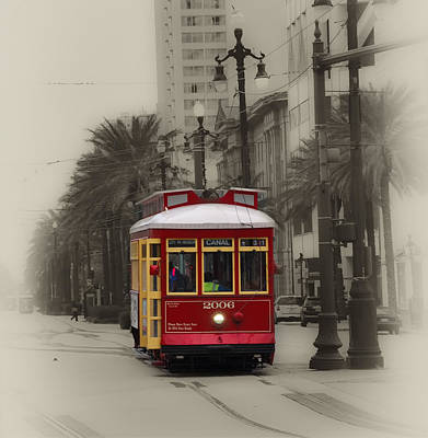 Streetcar Digital Art - Streetcar On Canal Street - New Orleans by Bill Cannon