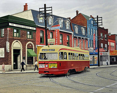 Bus Painting - Streetcar On Queen Street 1963 by Kenneth M  Kirsch