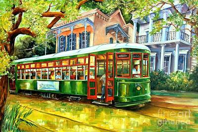 Tree Oil Painting - Streetcar On St.charles Avenue by Diane Millsap