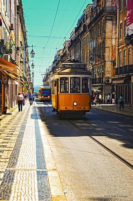 Streetcar Digital Art - Streetcar - Oporto by Mary Machare