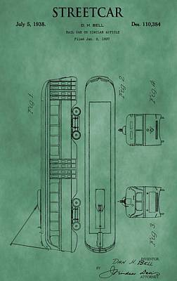 Antique Cars Mixed Media - Streetcar Patent Green by Dan Sproul