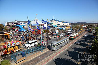 Sight Seeing San Francisco Photograph - Streetcars At Pier 39 San Francisco California 5d26054 by Wingsdomain Art and Photography